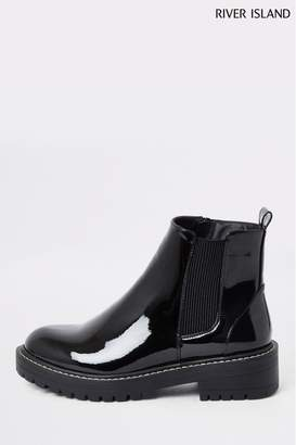 River Island Womens Black Queen Chunky Patent Gusset Boots - Black