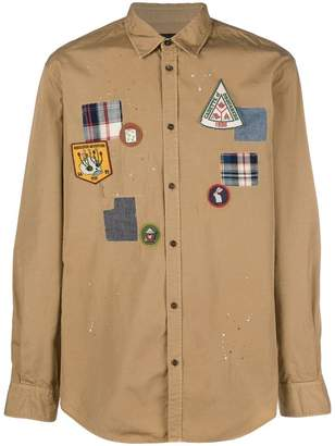 DSQUARED2 badge embroidered shirt