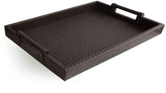 Jay Import Co Faux-Leather Serving Tray w/ Handles, Brown