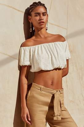 Urban Outfitters Off-The-Shoulder Cropped Eyelet Top