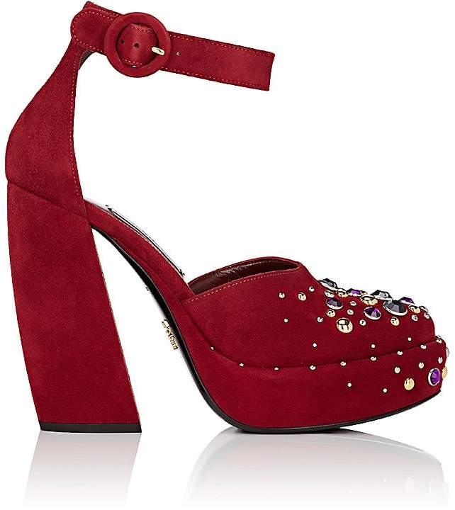 Prada Women's Embellished Suede Platform Sandals