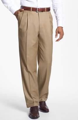 Santorelli 'Luxury Serge' Double Pleated Wool Trousers
