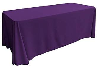 "Hunter Gee Di Moda Rectangle Tablecloth - 90 x 132"" Inch - Purple Rectangular Table Cloth for 6 Foot Table in Washable Polyester - Great for Buffet Table"