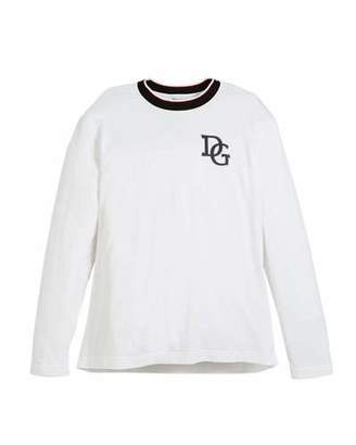 Dolce & Gabbana Long-Sleeve Striped-Collar King T-Shirt, Size 8-12