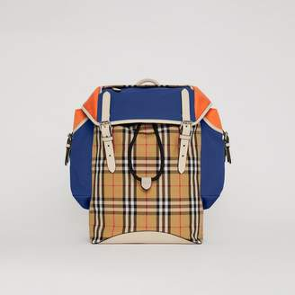 Burberry Colour Block Vintage Check and Leather Backpack