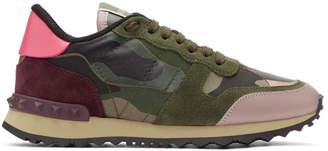 Valentino Green Garavani Camo Rockrunner Sneakers
