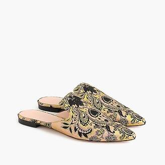 J.Crew Pointed-toe slides in brocade