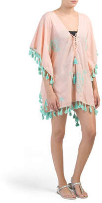 Lace Up Printed Cover-up Caftan