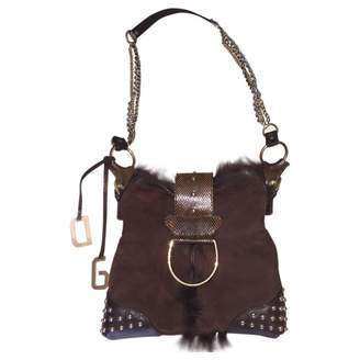 Dolce & Gabbana 100% Authentic Dolce Gabbana Brown Suede Leather Rabbit Fur Cross body Bag