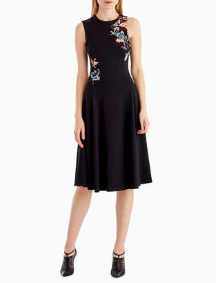 Sleeveless Fit-and-Flare Crepe Cocktail Dress w/ Floral-Embroidery