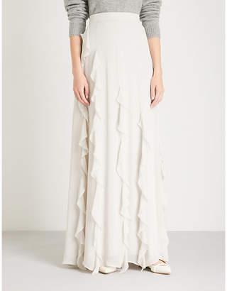 Max Mara Elegante Serafin ruffle-trimmed silk-chiffon maxi skirt