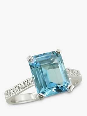 EWA 18ct White Gold Diamond Shoulder Cocktail Ring, Aquamarine
