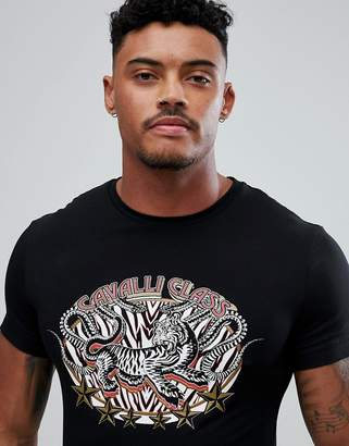 Class Roberto Cavalli T-Shirt In Black With Tiger Print
