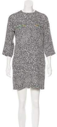 Celine Zip-Accented Animal Print Dress