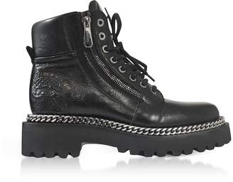 Balmain Black Leather Army Boots