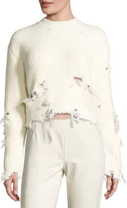 Yeezy Destroyed Wool-Blend Sweater, Off White