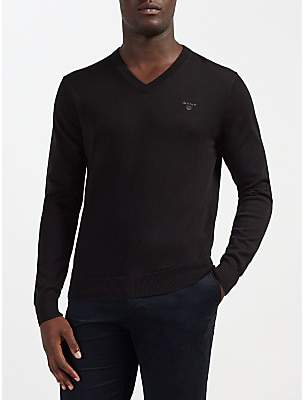 Gant Lightweight Cotton V-Neck Jumper, Black