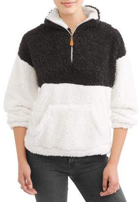 Poof! Juniors' All Over Frosted Sherpa Half Zip Colorblock Fleece Sweater
