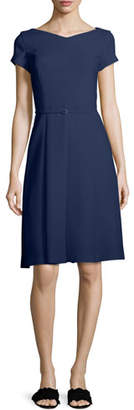 Loro Piana Claudette V-Neck Cap-Sleeve Belted A-Line Dress