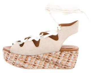 See by Chloe Lace-Up Suede Wedges