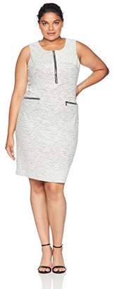 Calvin Klein Women's Plus Size LINE Detail Jaquard Dress