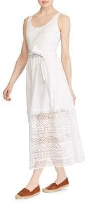 Lauren Ralph Lauren Petite Lace-Trim Poplin Sleeveless Dress