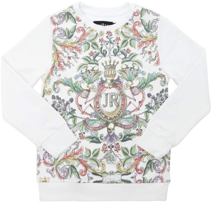 Floral Print Cotton Blend Sweatshirt