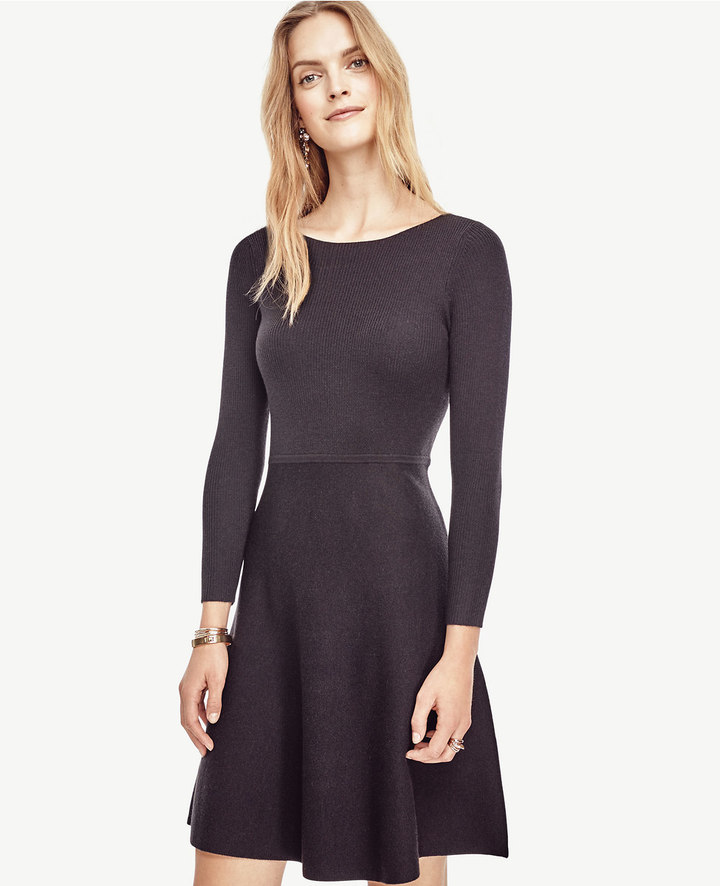 Ann Taylor Extrafine Merino Wool Flare Sweater Dress