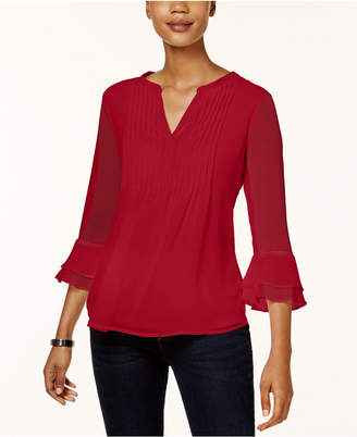 Charter Club Petite Pleated Bell-Sleeve Top