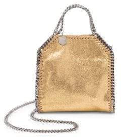 Stella McCartney Falabella Tiny Baby Bella Shimmer Faux-Suede Tote