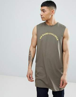 Asos Design DESIGN oversized tank with dropped armhole with no hard feelings print