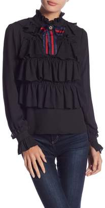 Romeo & Juliet Couture Ruffle Blouse With Detachable Brooch