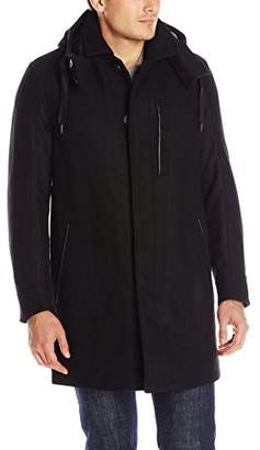 Andrew Marc Men's Boulevard Twill Wool Coat with Hood