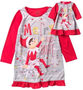 AME Elf on the Shelf Merry and Bright Nightgown & Doll Nightgown Set (Little Girls & Big Girls)