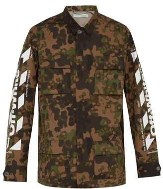 Off-White Off White Camouflage Print Cotton Field Jacket - Mens - Green