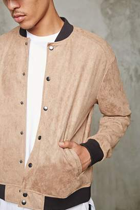 Forever 21 Faux Suede Baseball Jacket