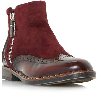 d69d9d4c099 at Debenhams · Dune - Maroon  Pandalla  Mixed Material Side Zip Brogue  Ankle Boots