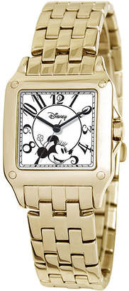 Disney Perfect Square Minnie Mouse Womens Gold-Tone Watch