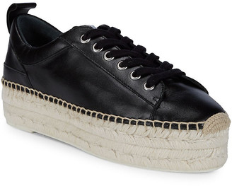 McQ Lace-Up Leather Flatform Espadrille