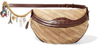 Balenciaga Souvenir Embellished Leather-trimmed Jacquard Belt Bag - Beige