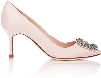 Manolo Blahnik Women's Satin Hangisi Pumps $965 thestylecure.com