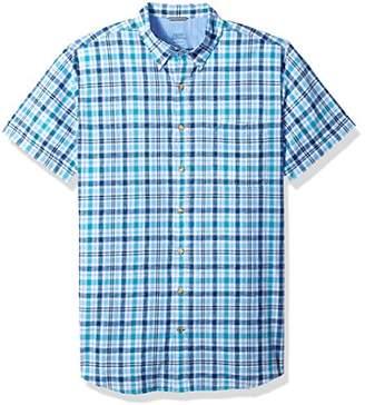 Izod Men's Size Dockside Chambray Plaid Short Sleeve Shirt (Big Slim Tall)