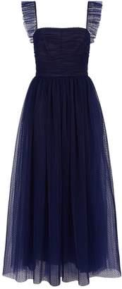 Monique Lhuillier Flocked Polka Dot Tulle Tea Dress