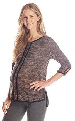 Maternal America Women's Maternity Open Neck French Seam Tee