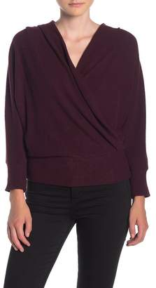 H By Bordeaux Ribbed Knit Surplice Sweater