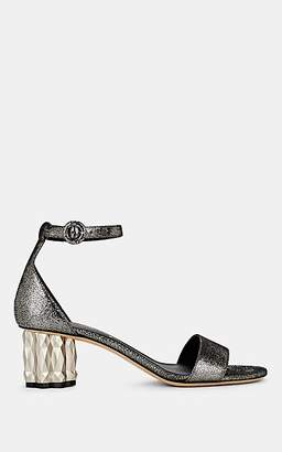 Salvatore Ferragamo Women's Azalea Silver Leather Ankle-Strap Sandals - Silver