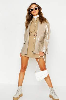 boohoo Patent Belted Faux Leather Jacket