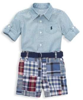 Ralph Lauren Boy's Two-Piece Cotton Collared Shirt and Madras Plaid Shorts Set
