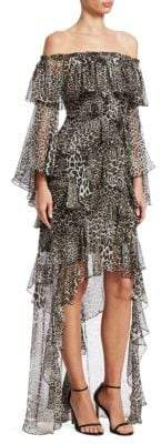 Badgley Mischka Animal-Print Ruffle Silk High-Low Dress