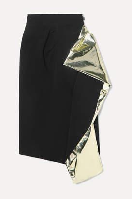 Maticevski Alkali Draped Metallic Foil-trimmed Crepe Skirt - Black